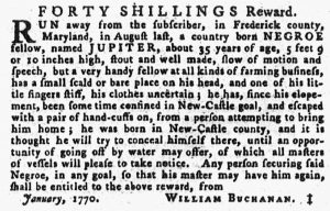 Feb 15 1770 - Pennsylvania Gazette Supplement Slavery 1