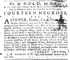 Feb 15 1770 - South-Carolina Gazette Slavery 5
