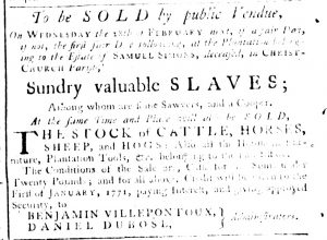 Feb 15 1770 - South-Carolina Gazette Supplement Slavery 12