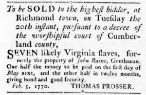 Feb 15 1770 - Virginia Gazette Rind Slavery 2
