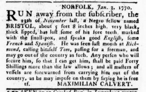 Feb 15 1770 - Virginia Gazette Rind Slavery 5
