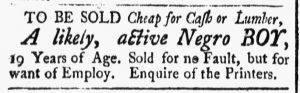 Feb 16 1770 - New-Hampshire Gazette Slavery 1