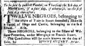 Feb 19 1770 - South-Carolina and American General Gazette Slavery 1