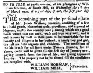 Feb 20 1770 - South-Carolina Gazette and Country Journal Slavery 3