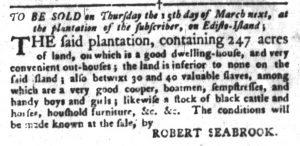 Feb 20 1770 - South-Carolina Gazette and Country Journal Slavery 5