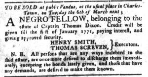 Feb 20 1770 - South-Carolina Gazette and Country Journal Slavery 8