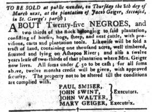 Feb 20 1770 - South-Carolina Gazette and Country Journal Slavery 9