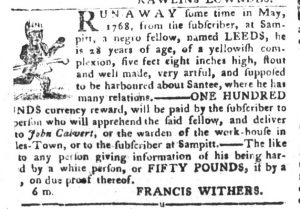 Feb 20 1770 - South-Carolina Gazette and Country Journal Supplement Slavery 2