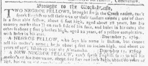 Feb 21 1770 - Georgia Gazette Slavery 2