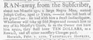 Feb 22 1770 - Massachusetts Gazette and Boston Weekly News-Letter Slavery 1