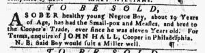 Feb 22 1770 - Pennsylvania Gazette Slavery 1