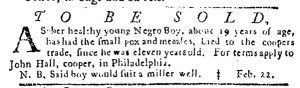 Feb 22 1770 - Pennsylvania Journal Slavery 1