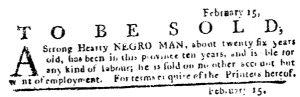 Feb 22 1770 - Pennsylvania Journal Slavery 4