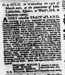 Feb 22 1770 - Virginia Gazette Purdie & Dixon Slavery 1