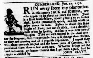 Feb 22 1770 - Virginia Gazette Purdie & Dixon Slavery 3