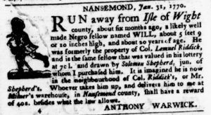 Feb 22 1770 - Virginia Gazette Purdie & Dixon Slavery 4