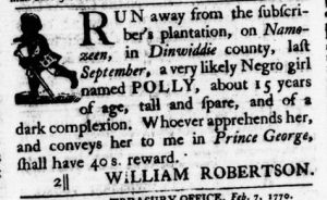 Feb 22 1770 - Virginia Gazette Purdie & Dixon Slavery 6