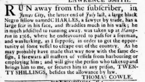 Feb 22 1770 - Virginia Gazette Rind Slavery 2