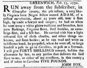 Feb 22 1770 - Virginia Gazette Rind Slavery 3