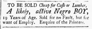 Feb 23 1770 - New-Hampshire Gazette Slavery 1