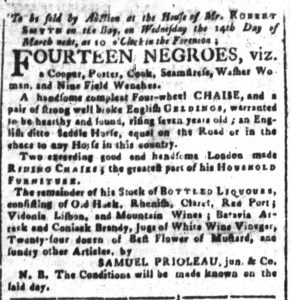 Feb 23 1770 - South-Carolina and American General Gazette Slavery 11
