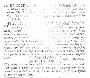 Feb 27 1770 - South-Carolina Gazette and Country Journal Slavery 4