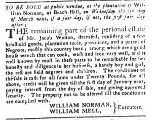 Feb 27 1770 - South-Carolina Gazette and Country Journal Slavery 5