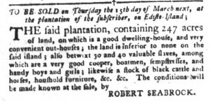 Feb 27 1770 - South-Carolina Gazette and Country Journal Slavery 7