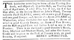 Feb 27 1770 - South-Carolina Gazette and Country Journal Slavery 8