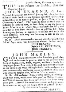 Feb 27 1770 - South-Carolina Gazette and Country Journal Supplement Slavery 1