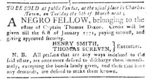 Feb 27 1770 - South-Carolina Gazette and Country Journal Supplement Slavery 3