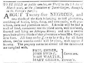 Feb 27 1770 - South-Carolina Gazette and Country Journal Supplement Slavery 4