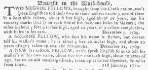 Feb 28 1770 - Georgia Gazette Slavery 4