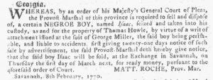 Feb 28 1770 - Georgia Gazette Slavery 7