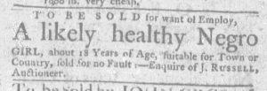 Feb 8 1770 - Massachusetts Gazette and Boston Weekly News-Letter Slavery 1