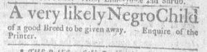 Feb 8 1770 - Massachusetts Gazette and Boston Weekly News-Letter Slavery 2