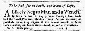 Feb 8 1770 - New-York Journal Supplement Slavery 1