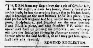 Feb 8 1770 - Virginia Gazette Rind Slavery 2