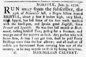 Feb 8 1770 - Virginia Gazette Rind Slavery 4