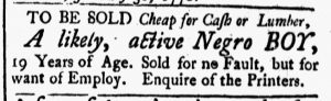 Feb 9 1770 - New-Hampshire Gazette Slavery 1