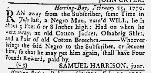 Mar 1 1770 - Maryland Gazette Slavery 1