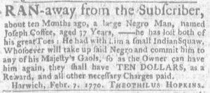 Mar 1 1770 - Massachusetts Gazette and Boston Weekly News-Letter Slavery 1