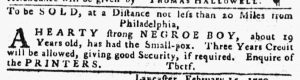 Mar 1 1770 - Pennsylvania Gazette Slavery 1