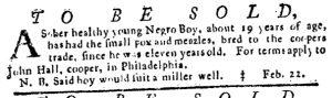 Mar 1 1770 - Pennsylvania Journal Slavery 1