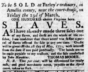 Mar 1 1770 - Virginia Gazette Rind Slavery 1