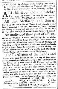 Mar 2 1770 - South-Carolina and American General Gazette Slavery 1