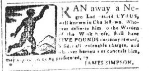 Mar 2 1770 - South-Carolina and American General Gazette Slavery 10