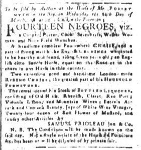 Mar 2 1770 - South-Carolina and American General Gazette Slavery 4
