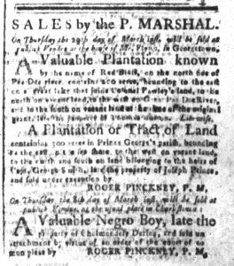 Mar 2 1770 - South-Carolina and American General Gazette Slavery 5