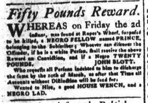 Mar 2 1770 - South-Carolina and American General Gazette Slavery 6